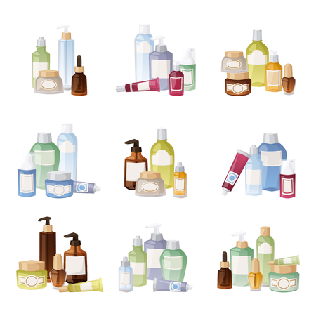 beauty products: Cosmetics packages beauty products set isolated vector. Cosmetics bottles cream design product care vector beauty cosmetic lotion liquid container. Packaging blank gel body spray cosmetics bottles.
