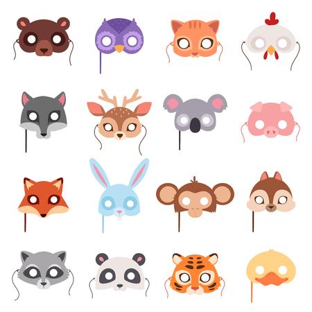 만화 동물 파티 마스크 벡터의 집합입니다. 동물 카니발 마스크 벡터 휴일 그림 파티 재미 기호입니다. 축하 동물 카니발 마스크 문자 헤드 무도회 축