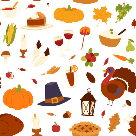 Happy thanksgiving day seamless pattern card design with holiday objects. Fresh food harvest autumn season thanksgiving day vector set. Traditional seasonal nature vegetable thanksgivin Illustration