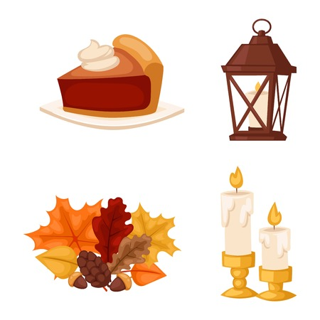 Set of colorful cartoon icons for thanksgiving day. Pumpkin holiday vector thanksgiving icons turkey design leaf celebration. Collection element traditional hat harvest day thanksgiving icons. Illustration