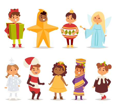 carnival costume: Illustration of cute kids wearing carnival holiday costumes. People happy girl carnival costume kids little young dress. Fun holiday portrait cheerful carnival costume kids vector set.