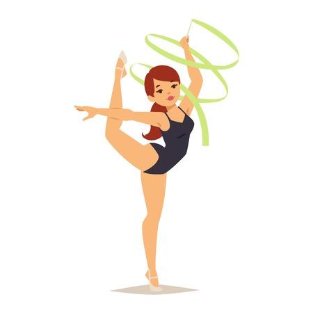 Figuras de chicas que realizan ejercicios de gimnasia con el aro maza y cintas aisladas ilustración vectorial. Gimnasta de la chica ejercicios de gimnasia artística y rítmica. Gimnasta de la chica joven el ejercicio de la aptitud Foto de archivo - 64222943