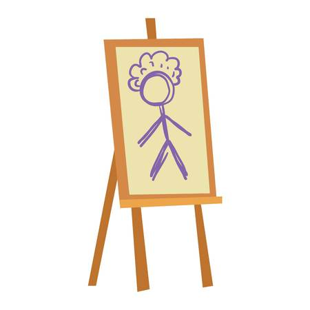 artboard: Easel art board vector isolated. Art board for some artist with paint brush and palette. Artist painting board isolated on white. Easel canvas artboard