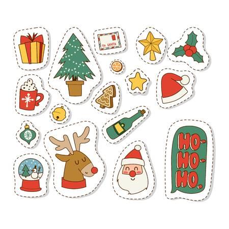 Natale icone simboli per simboli vettore biglietto di auguri celebrazione invernale di progettazione. Buon Natale feste simboli decorazione inverno icone. Disegnata a mano Capodanno biglietto di auguri di Natale simboli.