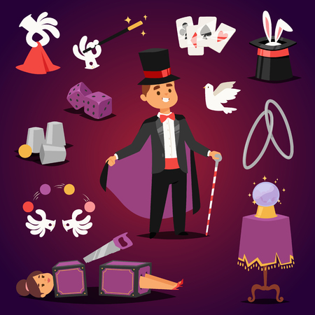Illusionist in purple tailcoat with white bunny fantasy witchcraft theater. Wizard hat entertainment performance magician illusionist. Imagination mystery surprise magician illusionist concept.  イラスト・ベクター素材