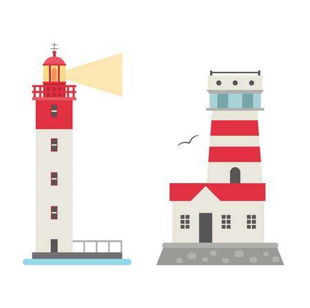 guidance: Vector set of cartoon flat lighthouses. Searchlight towers for maritime navigation guidance. Ocean beacon light vector tower lighthouse. Travel lighthouse water sailing signal navigation symbol.