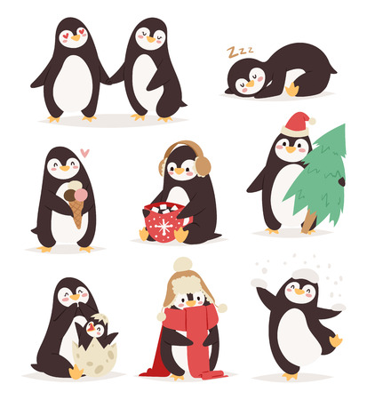 Penguin set vector illustration character. Cartoon funny penguins different situations. Penguin vector cute birds posing