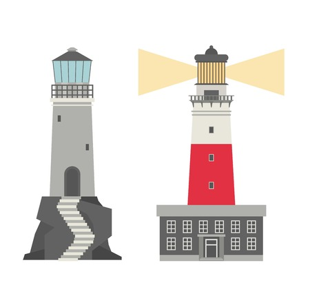 searchlight: Vector set of cartoon flat lighthouses. Searchlight towers for maritime navigation guidance. Ocean beacon light vector tower lighthouse. Travel lighthouse water sailing signal navigation symbol.