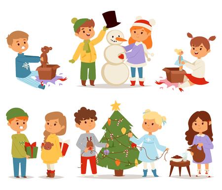 winter girl: Winter holidays background. Christmas kids playing winter games. Skating, skiing, sledding, girl dresses up Christmas tree, boy makes a snow man, children playing snowballs. Cartoon New Year kids