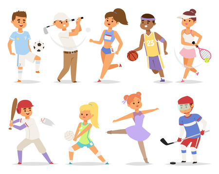 group fitness: Various sports people basketball running happy character. Isolated on white background sport people adult male exercise. competition set group fitness girl sport people runner training.