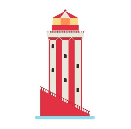 Vector cartoon flat lighthouses. Searchlight towers for maritime navigation guidance. Ocean beacon light vector tower lighthouse. Travel lighthouse water sailing signal navigation symbol.