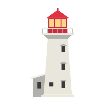 light house: Vector cartoon flat lighthouses. Searchlight towers for maritime navigation guidance. Ocean beacon light vector tower lighthouse. Travel lighthouse water sailing signal navigation symbol.