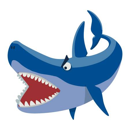 toothy: Vector illustration toothy white swimming angry shark. Animal sea isolated shark character underwater cute marine wildlife mascot. Scary smile cool evil monster shark character funny predator.