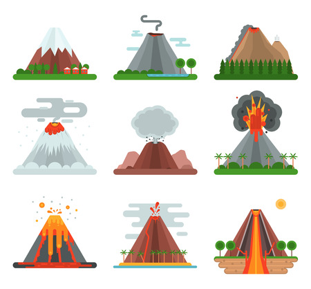 erupt: Volcano magma nature blowing up with smoke vector isolated. Crater mountain volcano hot natural eruption nature. Volcano erupt ash fire hill landscape outdoor geology exploding ash.