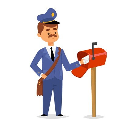Postman character vector courier occupation carrier. Cute man delivery package transportation courier postman character. Mail business shipping man postman character message deliver. Illustration