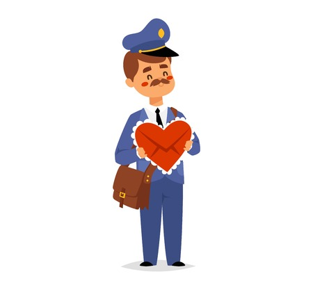 delivering: Postman character vector courier occupation carrier. Cute man delivery package transportation courier postman character. Mail business shipping man postman character message deliver. Illustration