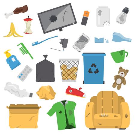 Los dibujos vectoriales conjunto de desechos y la basura para su reciclaje. Contenedor de basura reutilización iconos residuos domésticos separación. Electrodomésticos del vector de basura de residuos de basura papelera de reciclaje ambiente basura ecología.