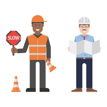 Construction worker wearing yellow helmet and overall work clothes working with different tools. Set of workers man vector character design isolated. Business person professional workers man.