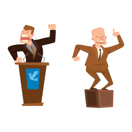 orator: Orator speaks with broad gestures behind podium. Speaker makes report to public and press politicians people. Eloquent speech before an audience. Oratory politician politicians people.