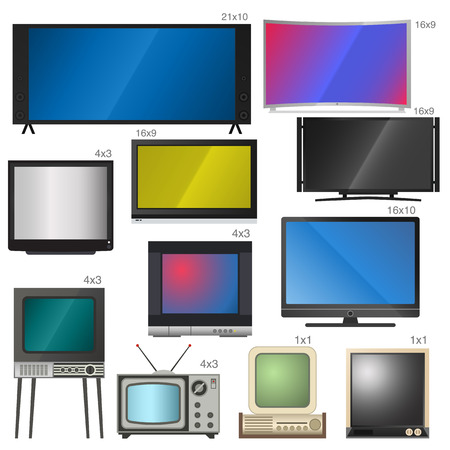 display size: TV screen lcd monitor and notebook, tablet computer, retro templates. Electronic devices TV screens infographic. Technology digital device TV screens, size diagonal display vector illustration.