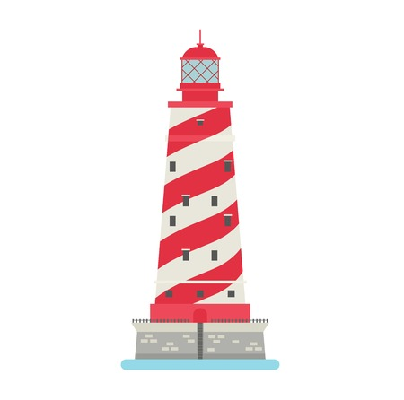 searchlight: Vector cartoon flat lighthouses. Searchlight towers for maritime navigation guidance. Ocean beacon light vector tower lighthouse. Travel lighthouse water sailing signal navigation symbol.