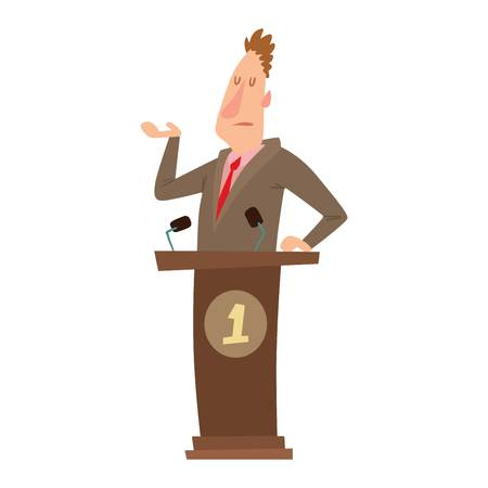 eloquent: Orator speaks with broad gestures behind podium. Speaker makes report to public and press politicians people. Eloquent speech before an audience. Oratory politician politicians people.