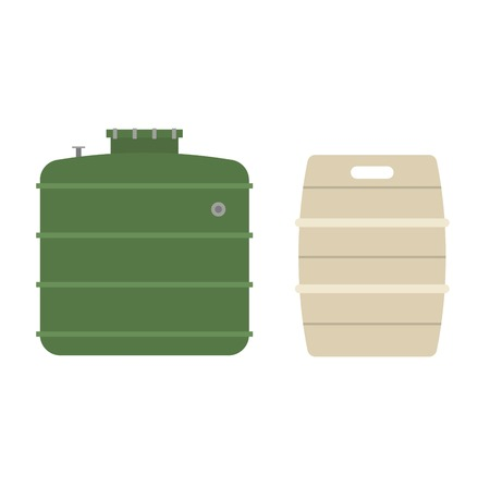 brent crude: Container liquid cask storage object. Brel capacity tank vector isolated. Illustration