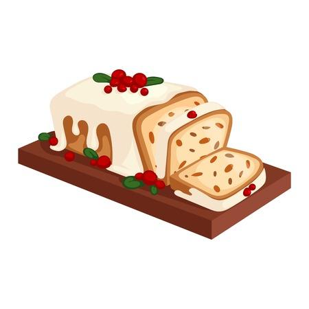 Süße Weihnachtskuchen isoliert auf weiß. Traditionelle Weihnachten süße Kuchen Holliday Vektor. Kuchen für Neujahr Lebensmittel süß Vektor. Lebensmittel frischer Kuchen isoliert