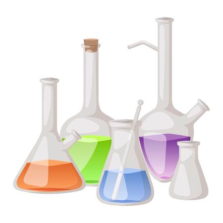 chemistry lab: Chemical laboratory vector lab flask glassware tube liquid biotechnology analysis. Set of lab flask tubes medical scientific equipment. Chemistry experiment research test science glass lab flask.