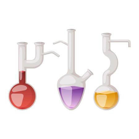equipment experiment: Chemical laboratory vector lab flask glassware tube liquid biotechnology analysis. Set of lab flask tubes medical scientific equipment. Chemistry experiment research test science glass lab flask.