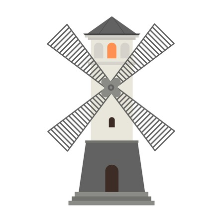 guidance: Vector cartoon flat mill lighthouses. Searchlight towers for maritime navigation guidance. Ocean beacon light vector tower lighthouse. Travel lighthouse water sailing signal navigation symbol.
