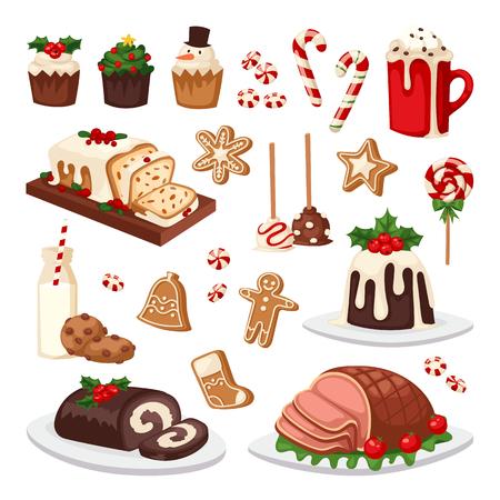 Set of traditional christmas food and desserts holiday decoration. Christmas food xmas sweet celebration dessert. Vector traditional festive winter cake homemade christmas food.