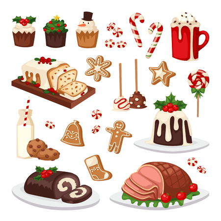 holiday food: Set of traditional christmas food and desserts holiday decoration. Christmas food xmas sweet celebration dessert. Vector traditional festive winter cake homemade christmas food.