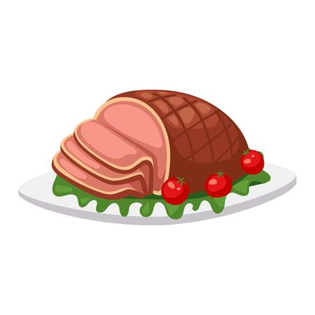 cooked meat: Homemade ground beef meatloaf with berries and spices. Food beef baked pork dinner meatloaf vector sauce traditional herb sliced meat. Homemade slice meatloaf cooked prepared delicious gourmet food. Illustration