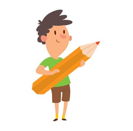kid drawing: Boy looking up thinking holding giant pencil kid school student vector. Boy holding pencil student cute happy person. Male people childhood boy holding pencil cartoon schoolboy drawing.
