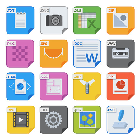 format: Simple vector square file types and formats labels icon set. File type format icons presentation document symbol. Audio extension file type icons graphic multimedia sign application software folder. Illustration