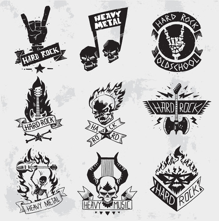 heavy: Vintage coal mining emblems, labels, badges,  . Monochrome style heavy metal rock badges   classic band typography hardcore.