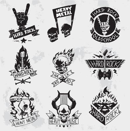 Vintage coal mining emblems, labels, badges, . Monochrome style heavy metal rock badges classic band typography hardcore. Vetores