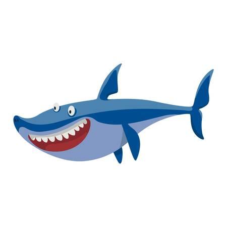 wildlife smile: Vector illustration toothy white swimming angry shark. Animal sea isolated shark character underwater cute marine wildlife mascot. Scary smile cool evil monster shark character funny predator.