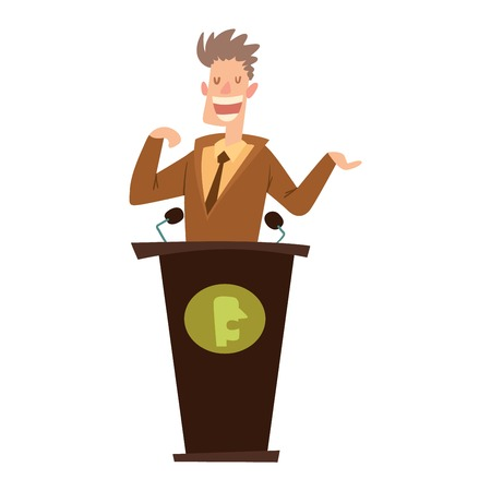 politicians: Orator speaks with broad gestures behind podium. Speaker makes report to public and press politicians people. Eloquent speech before an audience. Oratory politician politicians people.