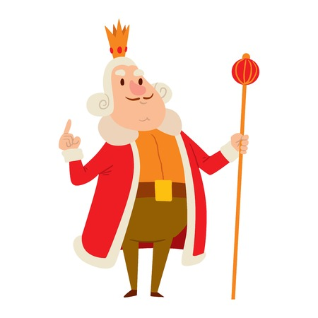 scepter: King cartoon illustration character. Fantasy royalty medieval king cartoon monarch fun comic. Fairytale prince costume king cartoon, different kingdom male vector character with gold crown.