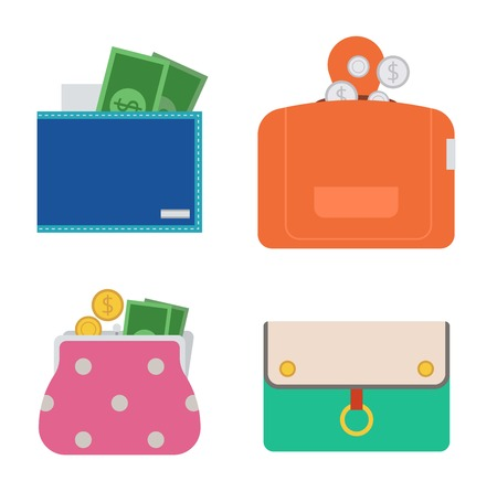 Purse wallet with money vector ico for shopping. Shopping buy business purse wallet. Financial payment bag accessory object purse trendy wallet vector. Illustration