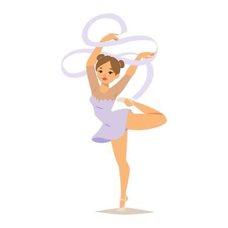 Mädchen Figuren Durchführung gymnastische Übungen mit Keule Hoop und Bänder Vektor-Illustration isoliert. Gymnastmädchen künstlerische und rhythmische Gymnastik. Gymnastmädchen junge Übung Fitness Standard-Bild - 64980222