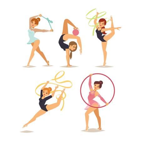 소녀 메이스 후프 체조 연습을 수행하는 수치와 테이프 벡터 일러스트 레이 션입니다. 체조 소녀 예술과 리듬 체조 운동. 체조 소녀 젊은 운동 피트니