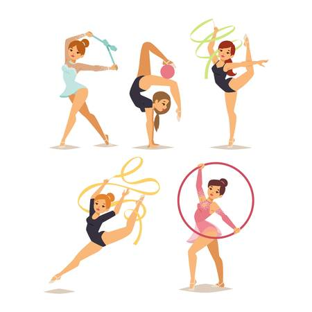 Girl figures performing gymnastic exercises with mace hoop and tapes isolated vector illustration. Gymnast girl artistic and rhythmic gymnastic exercise. Gymnast girl young exercise fitness