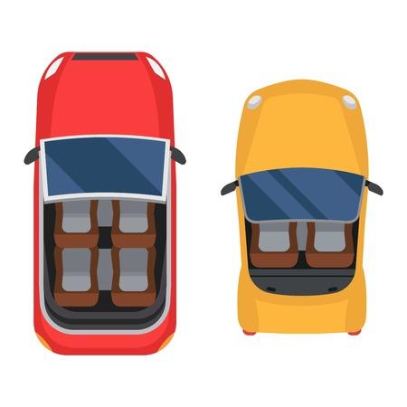 coches del icono del vector aislado. Desde arriba la vista superior del coche. colección de vehículos de transporte de diseño de automóviles vista superior del motor. Ilustración de vector