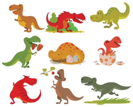 Dinosaurs cartoon collection. Cute t-rex tyrannosaurus pterosaur toy characters. Vector animals T-rex dinosaur tyrannosaurus monster. Reptile animal T-rex dinosaur cartoon danger carnivorous. Illustration
