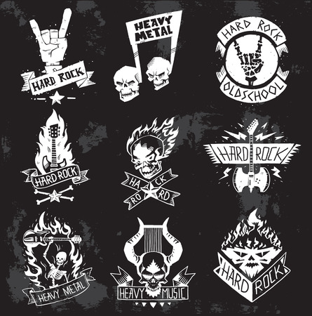 Vintage coal mining emblems, labels, badges. Monochrome style heavy metal rock badges classic band typography hardcore. Heavy Metal music symbol rock badges . Bikers retro rock label. Vectores