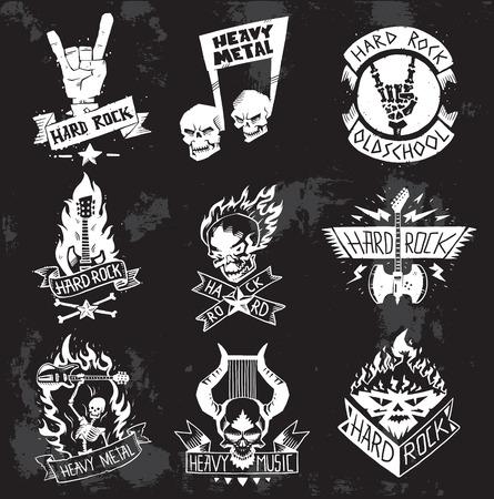 Vintage emblematy górnictwa węgla, etykiety, odznaki. Monochromatyczny styl heavy metalowy plakietki klasyczny zespół typografia hardcore. Heavy Metal muzyka symbol rock badges. Rakieta retro rock.