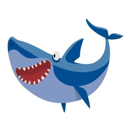 toothy smile: illustration toothy white swimming angry shark. Animal sea isolated shark character underwater cute marine wildlife mascot. Scary smile cool evil monster shark character funny predator.